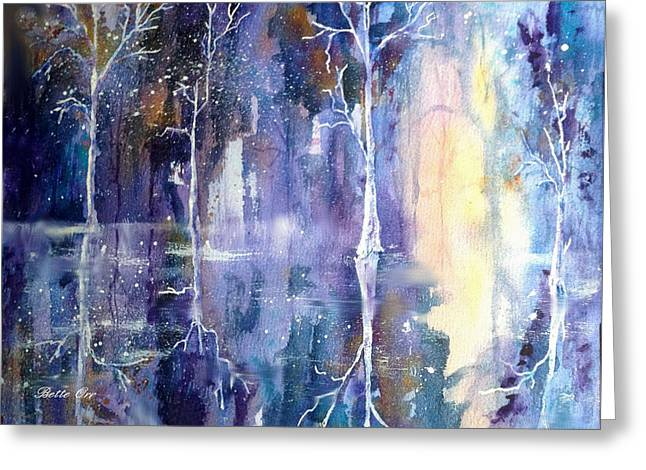 Abstractions Greeting Cards - Snowy Solitude Greeting Card by Bette Orr