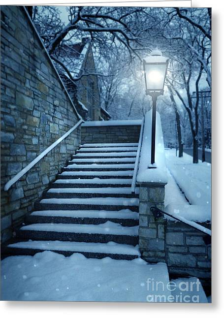Snowy Night Night Greeting Cards - Snowy Stairway Greeting Card by Jill Battaglia