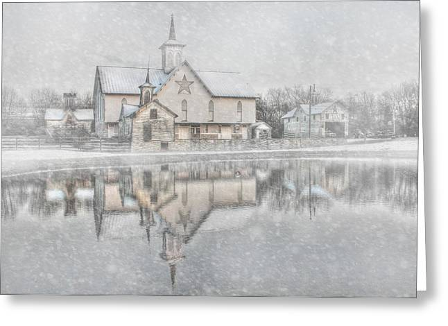Wintry Greeting Cards - Snowy Star Barn Greeting Card by Lori Deiter