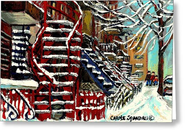 Verdun Connections Greeting Cards - Snowy Steps The Red Staircase In Winter In Verdun Montreal Paintings City Scene Art Carole Spandau Greeting Card by Carole Spandau