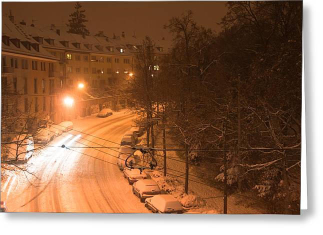 Snowy Evening Greeting Cards - Snowy street Greeting Card by Frank Gaertner