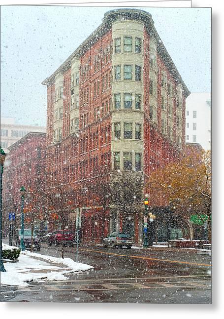 Syracuse Orange Greeting Cards - Snowy Street Scene in Syracuse Greeting Card by Kenneth Sponsler