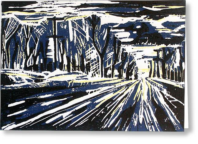 Linoleum Block Print Greeting Cards - Snowy Streetscape Greeting Card by Wilson Stewart