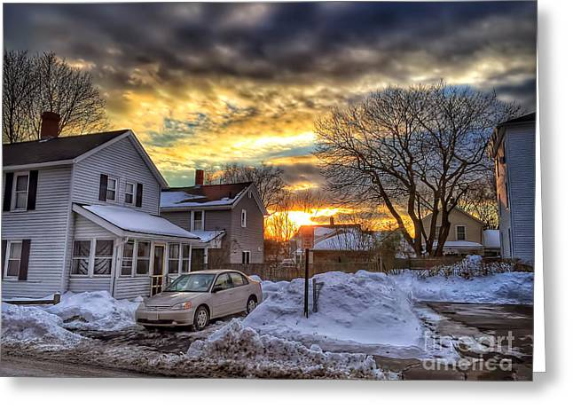 Blue Car. Greeting Cards - Snowy Sunset Greeting Card by HD Connelly