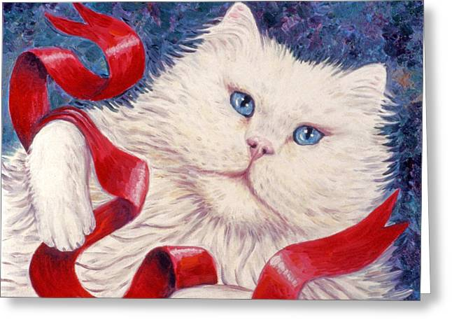 Kittens Greeting Cards - Snowy the Cat Greeting Card by Linda Mears