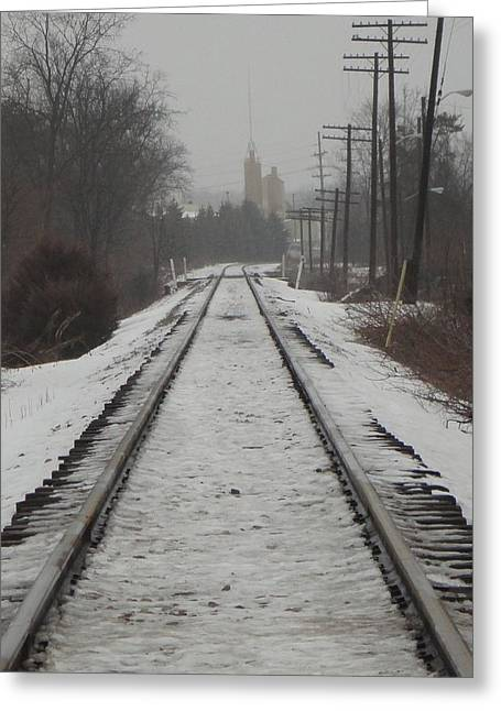 Guy Ricketts Photography Greeting Cards - Snowy Tracks on a Cold Winters Morning Greeting Card by Guy Ricketts