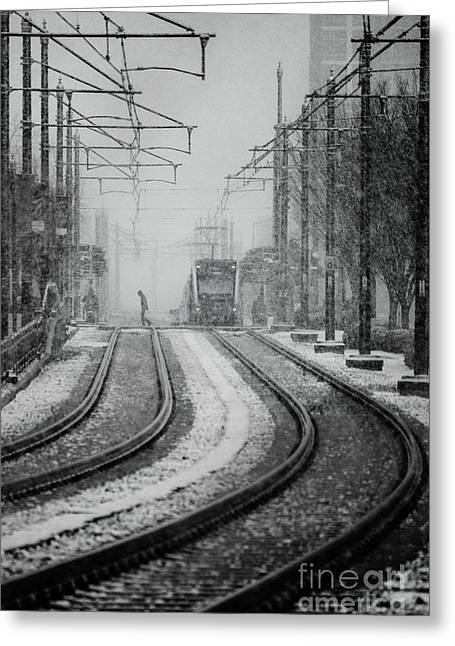 Timely Greeting Cards - Snowy Tracks to Lightrail Greeting Card by Robert Yaeger