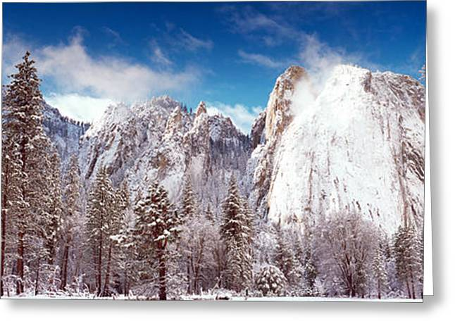 Cathedral Rock Photographs Greeting Cards - Snowy Trees With Rocks In Winter Greeting Card by Panoramic Images