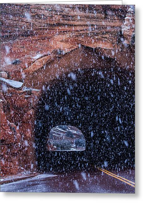 North Fork Greeting Cards - Snowy Tunnel Greeting Card by Bruce Siulinski
