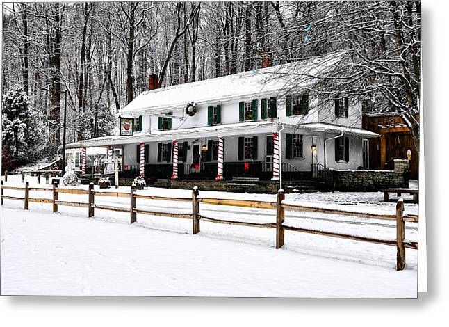 Phila Greeting Cards - Snowy Valley Green Greeting Card by Bill Cannon