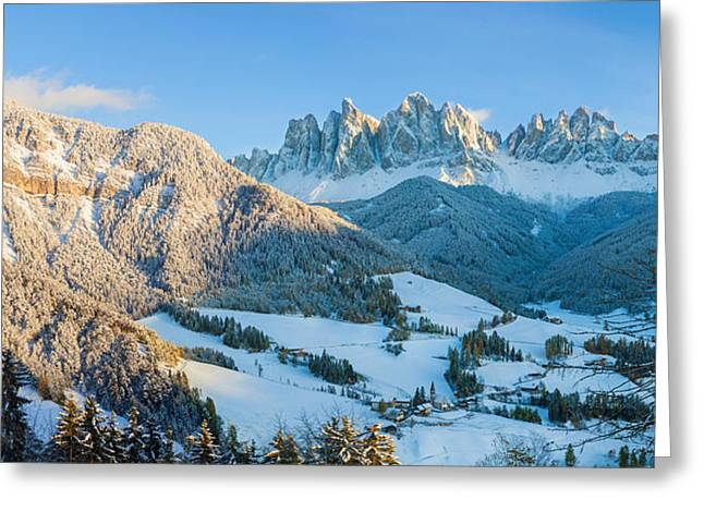 Alto Greeting Cards - Snowy Valley In Winter, St. Magdalena Greeting Card by Panoramic Images