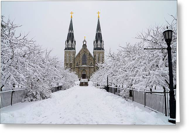 Radnor Greeting Cards - Snowy Villanova Greeting Card by Bill Cannon