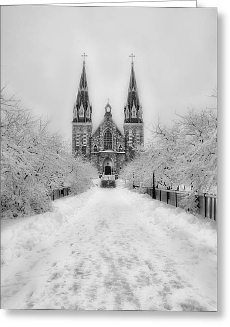 Radnor Greeting Cards - Snowy Villanova in Black and White Greeting Card by Bill Cannon