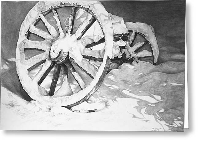 Wagon Wheels Drawings Greeting Cards - Snowy Wheel  Greeting Card by Aaron Spong