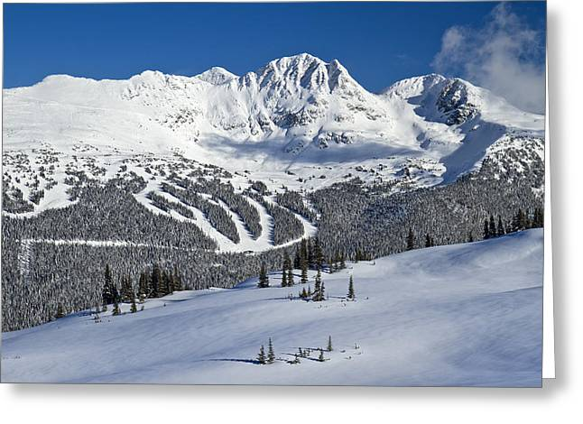 Sun Peaks Resort Greeting Cards - Snowy Whistler Blackcomb Greeting Card by Pierre Leclerc Photography