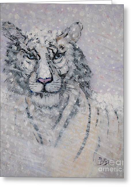 Snowy White Tiger Or Chairman Of The Board Greeting Card by Phyllis Kaltenbach