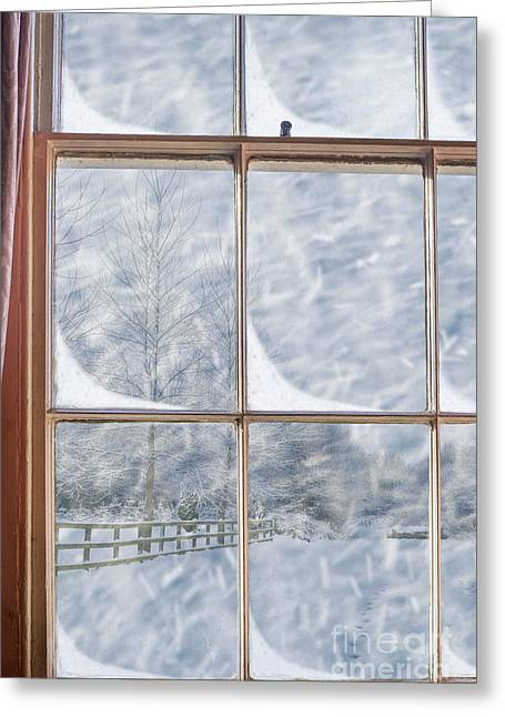 Foot-step Greeting Cards - Snowy Window Greeting Card by Amanda And Christopher Elwell