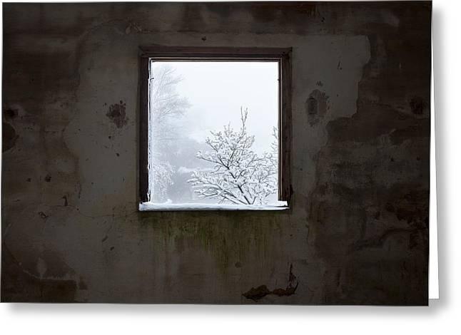 Human Spirit Greeting Cards - Snowy window Greeting Card by Fernando Alvarez