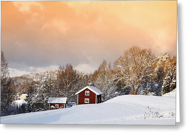 Snow Scape Greeting Cards - Snowy Winter Landscape At Sunset Greeting Card by Christian Lagereek