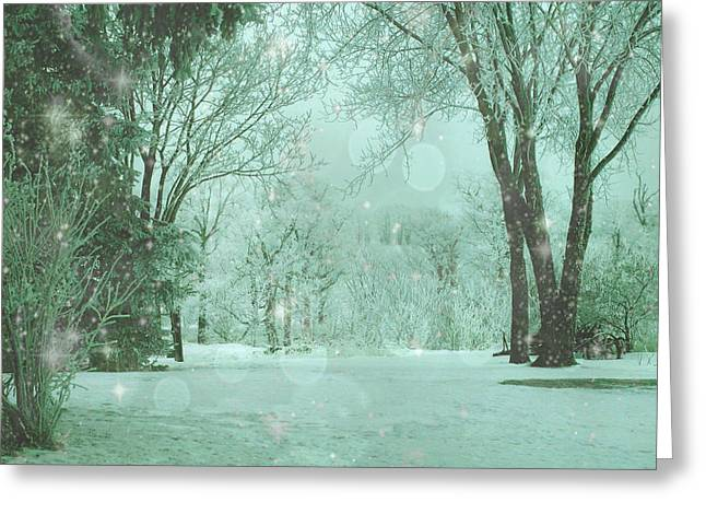 Winter Night Greeting Cards - Snowy Winter Night Greeting Card by Mary Wolf