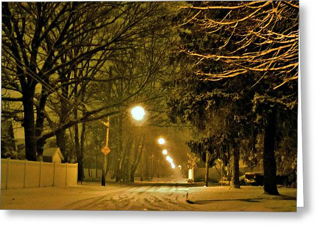 Snowy Winter Night Greeting Card by Mikki Cucuzzo