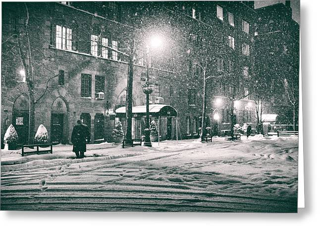 Snowy Night Night Greeting Cards - Snowy Winter Night - Sutton Place - New York City Greeting Card by Vivienne Gucwa