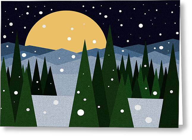 Snowy Winter Night Greeting Card by Val Arie