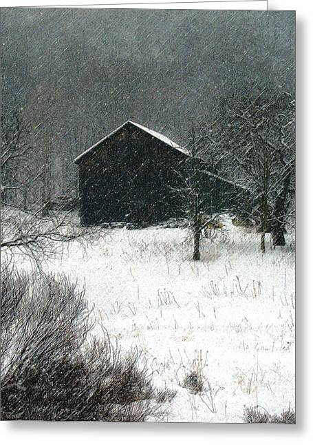 Dantzler Greeting Cards - Snowy Winter Scene Greeting Card by Andrew Govan Dantzler