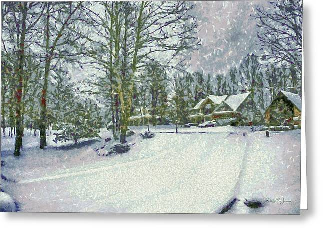 Road Covered With Snow Greeting Cards - Snowy Winters Day Greeting Card by Barry Jones