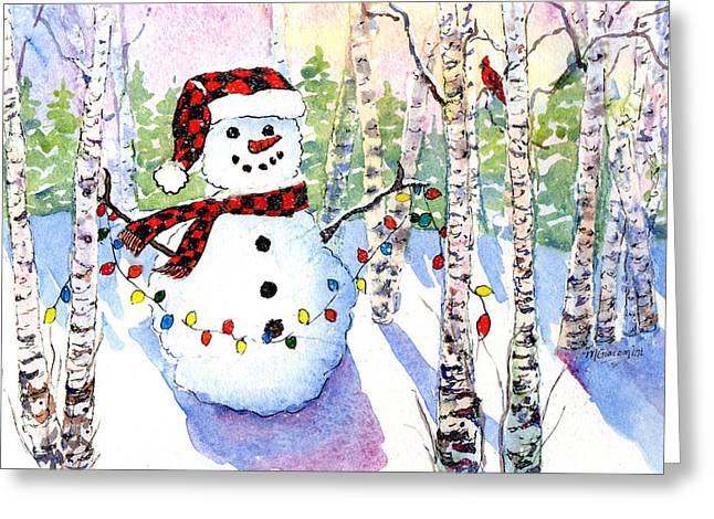 Mary Giacomini Greeting Cards - Snowy Wishes Greeting Card by Mary Giacomini