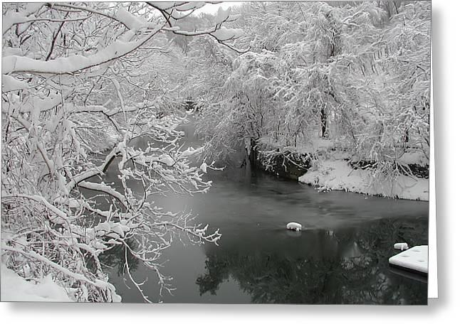 Phila Digital Greeting Cards - Snowy Wissahickon Creek Greeting Card by Bill Cannon