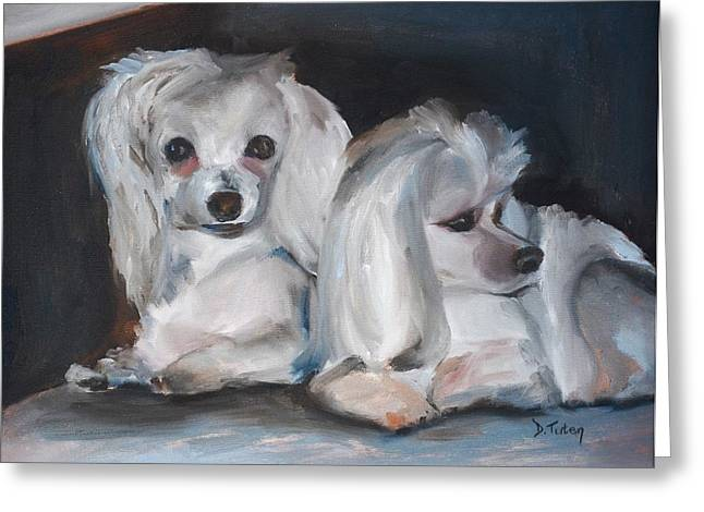 Snuggles And Sarge The Maltese Greeting Card by Donna Tuten