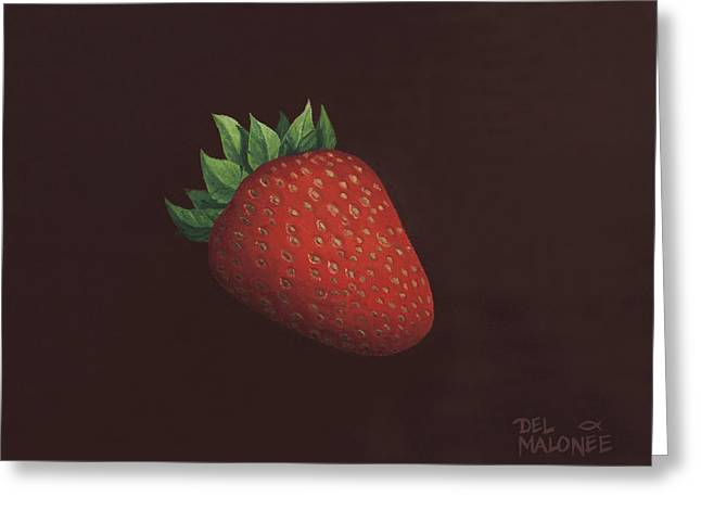 Strawberry Paintings Greeting Cards - So Berry Good Greeting Card by Del Malonee