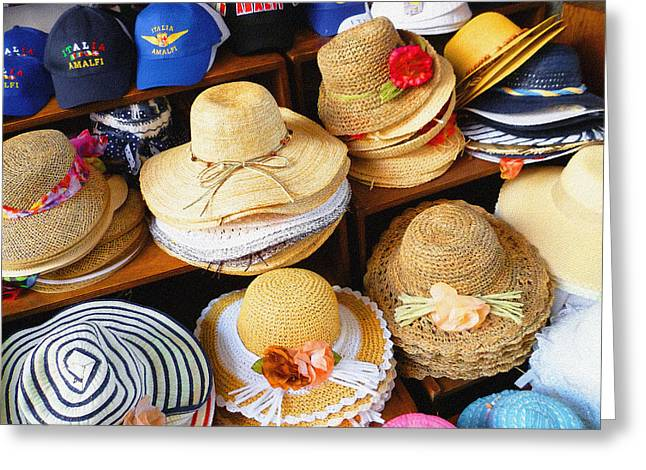Dry Brush Greeting Cards - So Crazy For Hats Amalfi Market Italy Summer Greeting Card by Irina Sztukowski