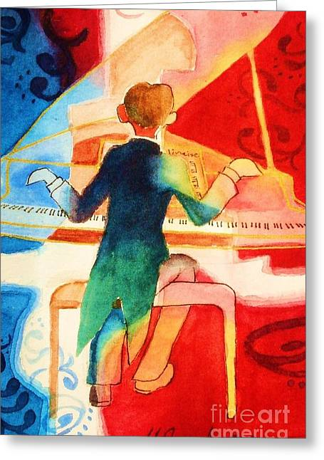 Pianist Mixed Media Greeting Cards - So Grand Greeting Card by Marilyn Jacobson