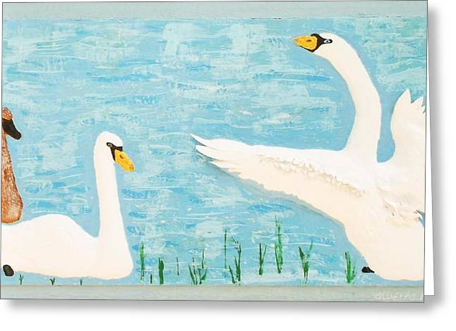 Swans... Reliefs Greeting Cards - So Long Boys Greeting Card by Alberto H-B