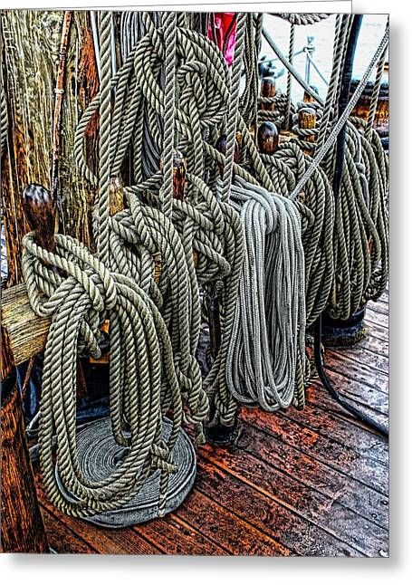 Tall Ships Mixed Media Greeting Cards - So Many Ropes Greeting Card by Don Bendickson
