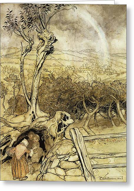 Fairyland Greeting Cards - So Nobody Can Quite Explain Exactly Where the Rainbows End Greeting Card by Arthur Rackham