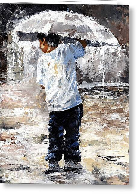 Little Boy Greeting Cards - Soaked Greeting Card by Emerico Imre Toth