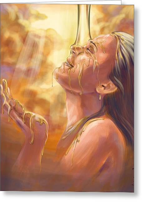 Biblical Greeting Card featuring the digital art Soaking In Glory by Tamer and Cindy Elsharouni