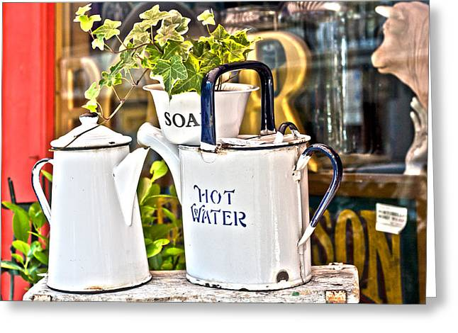 Water Jug Greeting Cards - Soap and Hot Water Greeting Card by Georgia Fowler