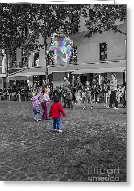 Innocence Child Digital Art Greeting Cards - Soap bubble fun Greeting Card by Patricia Hofmeester