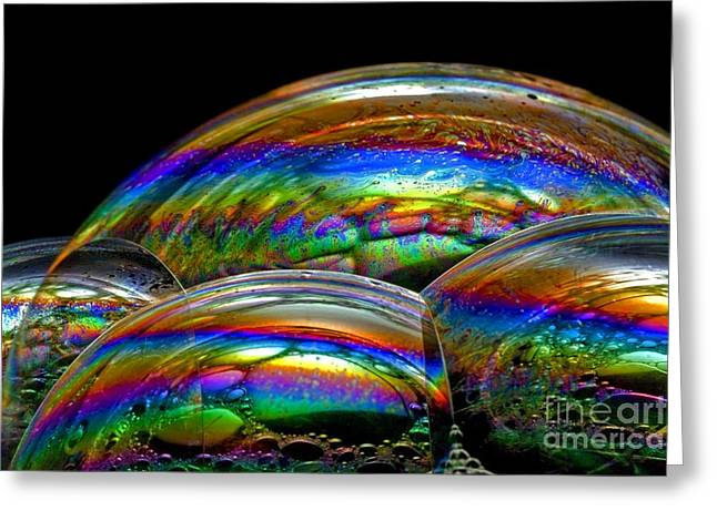 Thin Greeting Cards - Soap Bubble Iridescence Greeting Card by Dr Keith Wheeler