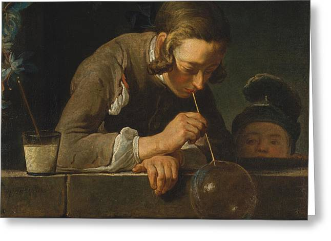 Chardin Greeting Cards - Soap Bubbles Greeting Card by Jean-Simeon Chardin