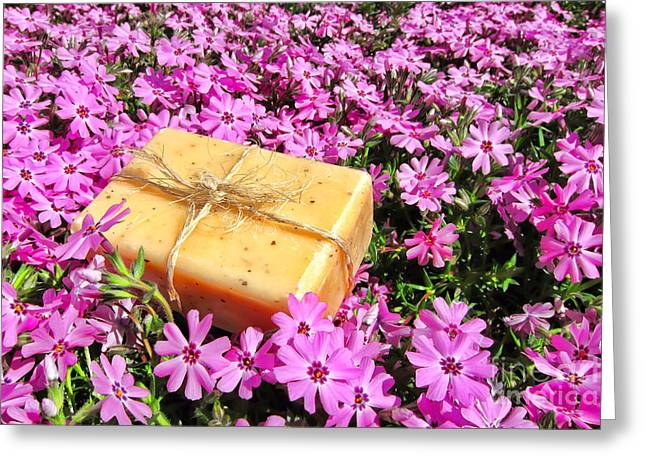 Therapy Greeting Cards - Soap on Flowers Greeting Card by Olivier Le Queinec