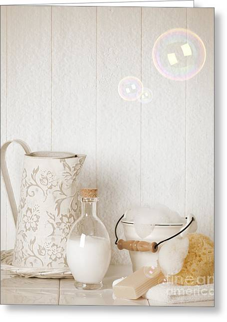 Water Jug Greeting Cards - Soap Suds With Bubbles Greeting Card by Amanda And Christopher Elwell