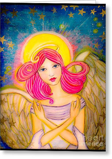 Winged Goddess Mixed Media Greeting Cards - Soar Greeting Card by Julissie Saltzberg