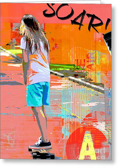 Urban Sport Greeting Cards - Soar skateboarding collage Greeting Card by Adspice Studios