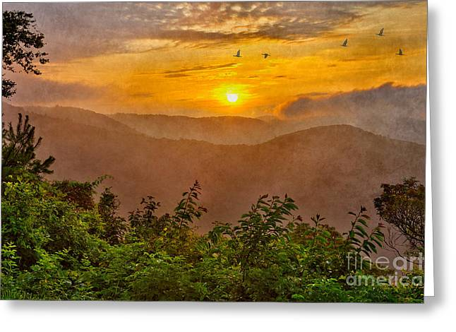 Surreal Landscape Mixed Media Greeting Cards - Soaring at Sunrise - Blue Ridge Parkway II Greeting Card by Dan Carmichael