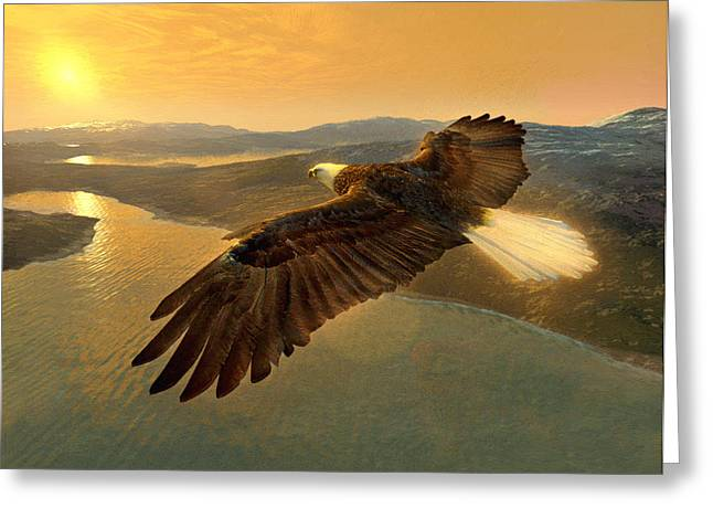 Landscape Pictures Greeting Cards - Soaring Eagle Greeting Card by Ray Downing